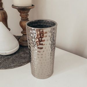 Hammered Silver home decor vase
